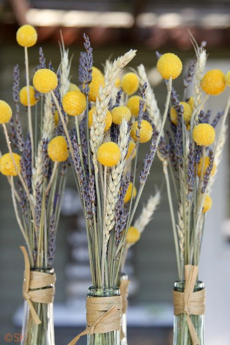 Wheat and some kind of yellow ball flowers (?) in wine bottles as centerpieces.