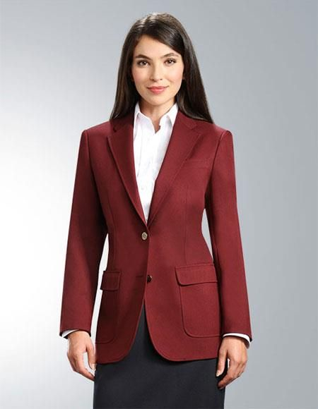 f94783c626d Fashionable and elegant two button notch collar design burgundy blazers for  women.