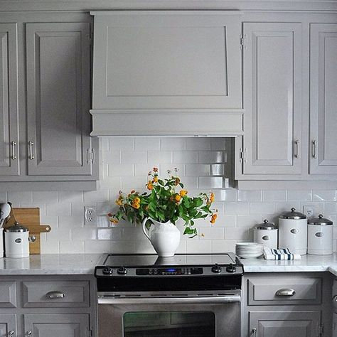 #Cabinets don't have to be boring! Switch things up with a striking gray, like our Winter Gates AC-30. #Regram from @dearlillie #designinspiration #kitchen