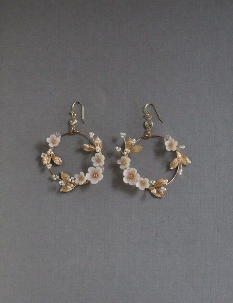Bridal Statement Earrings Floral Bridal Earrings Statement Hoop Earrings h Ear Jewelry, Cute Jewelry, Boho Jewelry, Wedding Jewelry, Fashion Jewelry, Jewelry Ideas, Jewlery, Dainty Jewelry, Women's Jewelry
