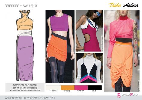 fashion Trends FW Trend forecast: ACTIVE COLOUR BLOCK jersey dress, sporty cuts and active color blocking, provocative slits, development designs by Fashion trend forecasting.