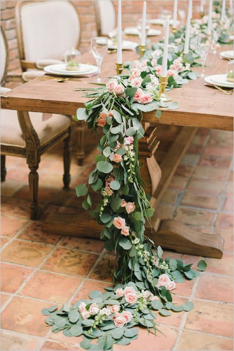 Perfect Pink And Gold Succulent Wedding | Table Garland, Pink Roses And Garlands