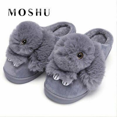 Women Rabbit Bunny Fur Warm Plush Home Slippers Winter Indoor Slip on Flat Shoes
