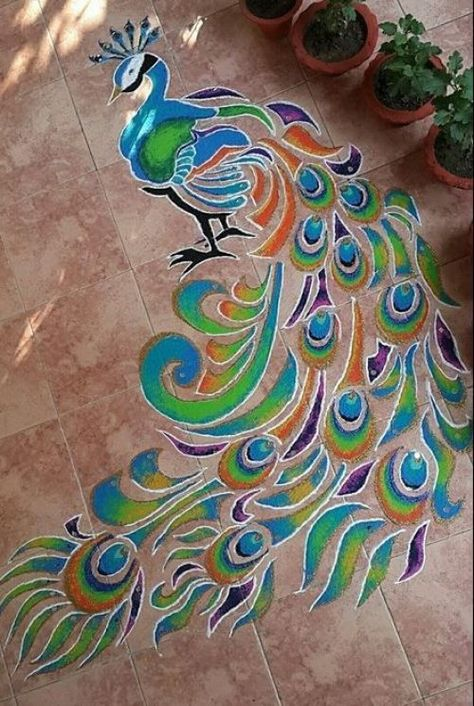 10 Admirable Peacock Rangoli Designs That You Must Try in