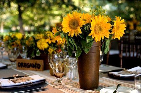 sunflower wedding centerpiece floral arrangement