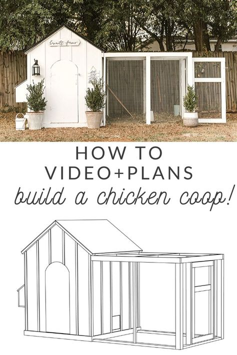 Build This DIY Chicken Coop! Grab the plans for this DIY chicken coop! This coop will hold birds, has 4 nesting boxes, an arched door, and run!Photo by shelbyr Chicken Coop Designs, Cute Chicken Coops, Diy Chicken Coop Plans, Chicken Coup, Backyard Chicken Coops, Building A Chicken Coop, Chickens Backyard, Chicken Coop Pallets, Chicken Garden
