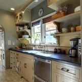 Mediterranean Kitchen With Shelving