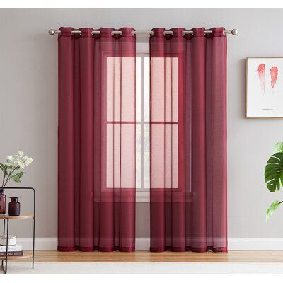 Winston Porter Jashon Solid Semi Sheer Grommet Curtain Panels