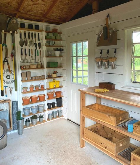 Garden Shed Makeover — Made on Garden Tool Storage, Shed Storage, Diy Garden, Garden Tools, Garden Sofa, Garden Shed Interiors, Shed Makeover, Garden Makeover, Shed Organization