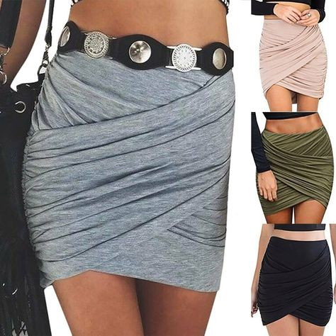 Womens High Waisted Pencil Mini Skirt Summer Casual Party Stretch Bodycon Dress $14.09  - Mini Skirts - Ideas of Mini Skirts #MiniSkirts