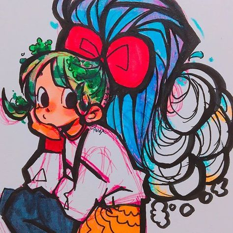 A Failed Attempt At Waterfall Hair Lmaooo It Started Off As Something Else But I Wasn T Into It And Like This Went Somew Cute Art Styles Cute Art