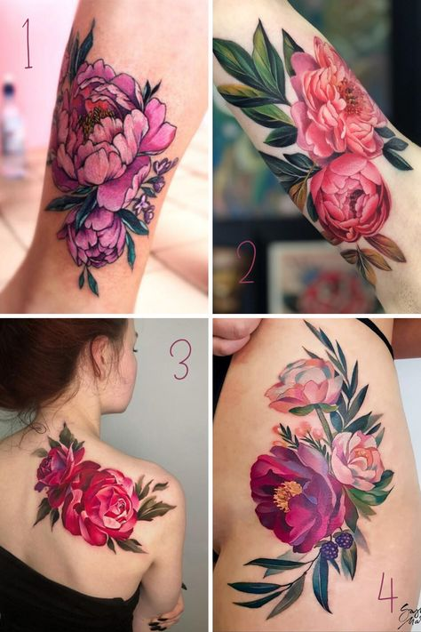 Peony Flower Tattoos, Colorful Flower Tattoo, Peonies Tattoo, Flower Tattoo Designs, Flower Cover Up Tattoos, Realistic Flower Tattoo, Forearm Flower Tattoo, Pink Rose Tattoos, Colorful Tattoos