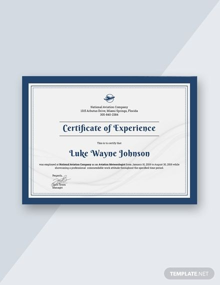 Free Company Experience Certificate Template Certificate Templates Certificate Design Certificate Format