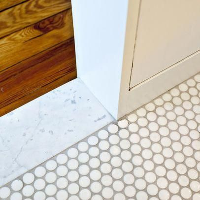 Marble Penny Tile Hardwood Floor Transition Woodflooringtransition Penny Tiles Bathroom Penny Tile Penny Tile Floors