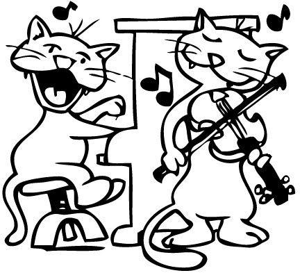 La Musica Y Los Animales Dibujos Para Colorear De Animales Que Cats Musical Funny Art Cat Art