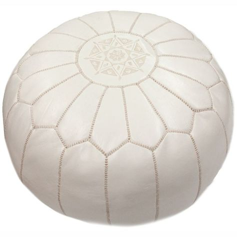 NuLOOM Handmade Casual Living Leather Moroccan Ottoman Pouf White Custom Nuloom Moroccan Pouf