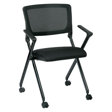 Work Smart Folding Chair With Screen Back Set Of 2 Folding