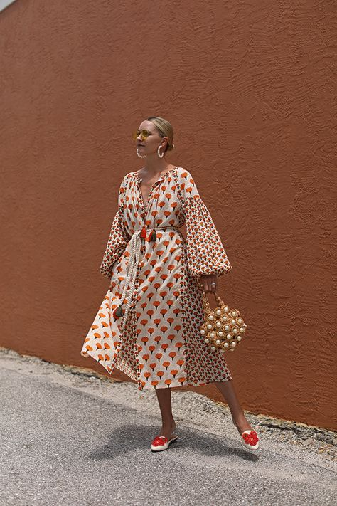 Summer style with kaftans and cover ups // Blair Eadie wears a cover up by Aish, with pearl earrings from Lele Sadoughi, Tory Burch flats, and a pearl basket bag // Click through for more cover up outfit inspiration and seasonal kaftan picks on Atlantic-Pacific