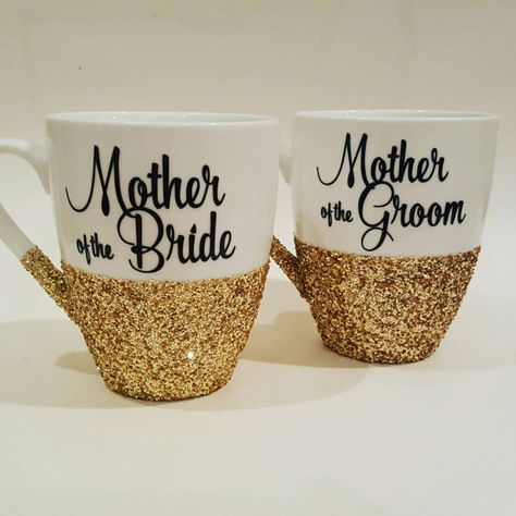Mother of the Bride OR Mother of the Groom hand glittered coffee mug by Boundtobeloved