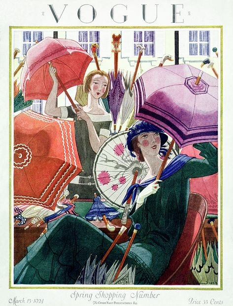Illustration Art Print featuring the photograph A Vintage Vogue Magazine Cover From 1924 by Pierre Brissaud