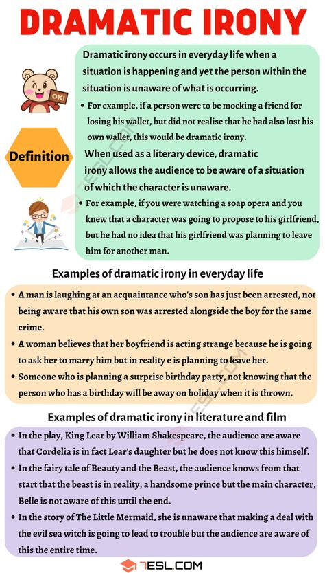 Dramatic Irony: Definition and Examples in Speech, Literature and Film - 7 E S L