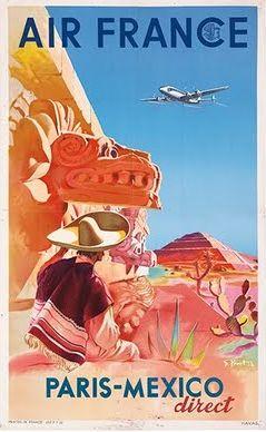 Paris Mexico Air France Affiches De Voyage Air France