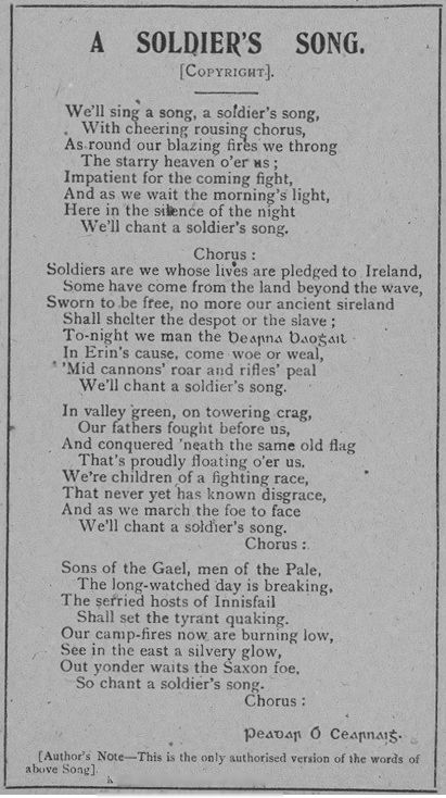Til The Irish National Anthem Acknowledges American Support And Refers To England As The Saxon Foe Irish National Anthem Irish Life Irish Quotes