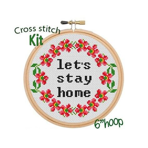 Let's Stay Home Cross Stitch Kit. Beginner Cross Stitch. Flowers Wreath Cross Stitch. Funny Home Cross Stitch Kit. Quotes Sayings Kit. -   - #Beginner #countedCrossStitch #Cross #CrossStitchcharts #CrossStitchchristmas #CrossStitchembroidery #CrossStitchfreebies #CrossStitchgeeky #CrossStitchletters #CrossStitchquotes #flowers #Funny #Home #Kit #Lets #quotes #Sayings #Stay #Stitch #wreath