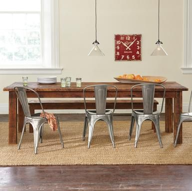 Plank Table 6 Vintage White Tolix Chairs Dining Room Pinterest And Patios