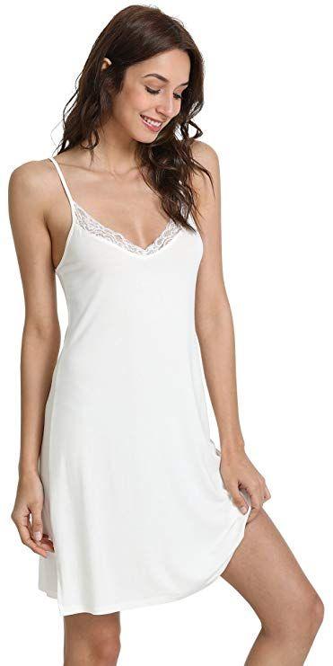 GYS Women's Sleep Chemise Laced V Neck Full Slip, White, X Large | Sleepwear  fashion, Slip dress, Fashion