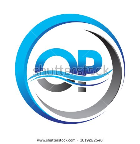 Initial Letter Logo Op Company Name Blue And Grey Color On Circle