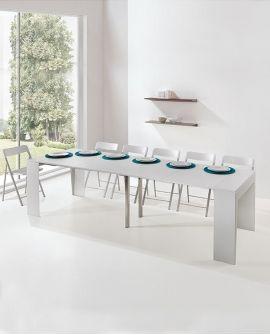 Console Extensible Avec Allonges Et 6 Chaises Pliantes Integrees Pedro Plus Console Extensible Chaise Pliante Chaises De Table A Manger