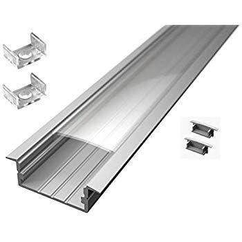 Lot De 3 Profiles En Aluminium Encastrables Pour Barres A Led 2 M Avec Verre Trasparente Embouts Et Systeme De Fixation Inclus 6 M Eclairage Luminaire Led