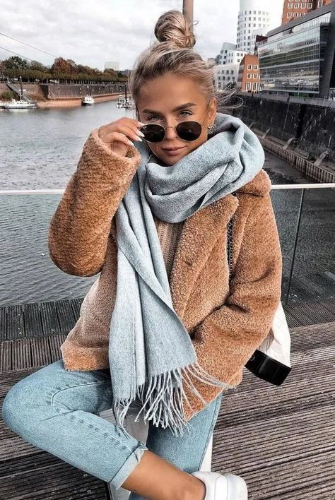 cozy+winter+outfit+idea+to+try+right+now_scarf+++nude+jacket+++jeans+++bag+++sneakers winter fashion 30 Trendy Winter Outfits To Wear When It's Cold Outside