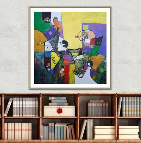 Geometric Abstract Art Oil On Canvas Modern Painting Living