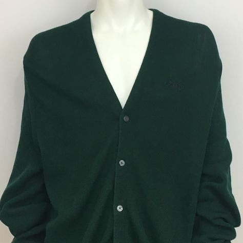 63b5afa66 IZOD Mens Cardigan Sweater Vintage Green Acrylic Size XL  IZOD  Cardigan