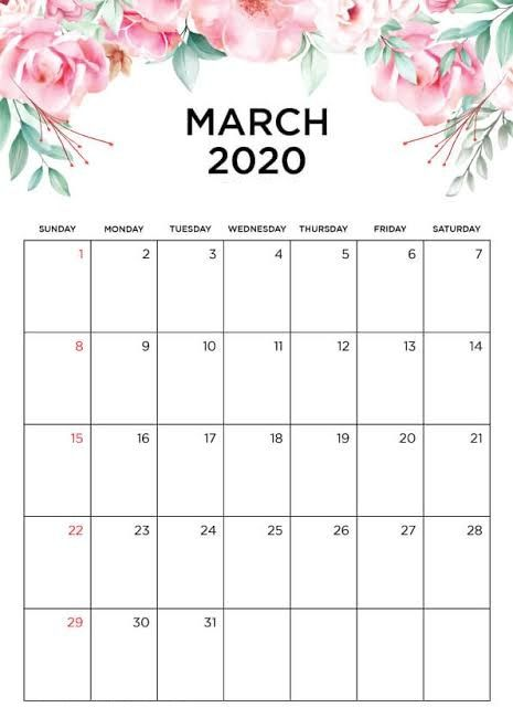 Cute March 2020 Calendar Pdf In Latest Design Calendar Template