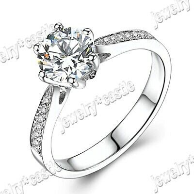 Solid 10k White Gold 100 Genuine Aaa Graded Cubic Zirconia Engagement Rings In 2020 Cubic Zirconia Engagement Rings White Gold Engagement Rings Engagement Rings