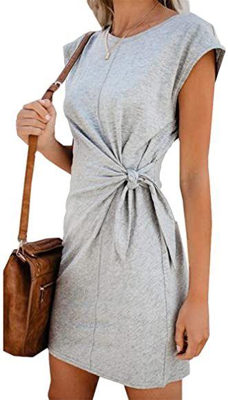 Woweal Minikleid Damen Sommer Mode T Shirt Kleid Einfarbig Kurzarm Kleider Tunikakleid Partykleid Kleid Dress Green2 S In 2020 Partykleid Tunika Kleid T Shirt Kleid