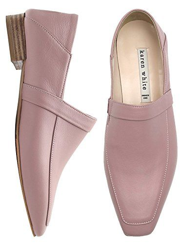 save off sale uk new cheap KAREN WHITE Women's Pink Loafers Genuine Leather Square T... https ...
