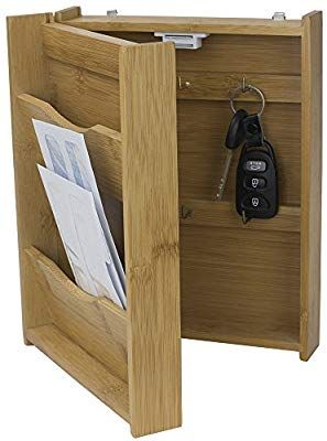 Amazon Com Home Basics Letter Rack With Key Box Bamboo Home Kitchen Mail Organizer Wall Key Box Letter Rack