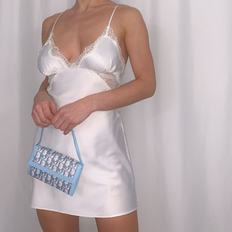 betsey johnson white silky and lace slip dress size medium length poly with nylon lace no trades - Sold by Casual Outfits, Summer Outfits, Cute Outfits, Fashion Outfits, Lace Slip, 2000s Fashion, Look Cool, Aesthetic Clothes, Cute Dresses