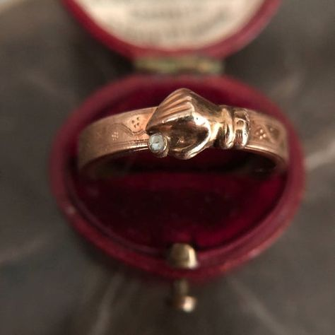 Georgian 14 Carat Fede Mourning Ring With Diamond Lovely gold band engraved with a kind of pin prick floral motif, with a hand holding a tiny diamond ,2mm incl bezel, that opens to reveal hair woven around the band. If you like you can remove the hair and have a name or date engraved instead size