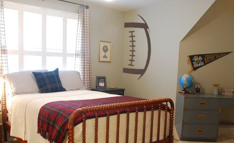 Our awesome Football Outline Wall Decal looks great in any sports themed room! Place it up against the wall, the ceiling, or the floor, and it is sure to grab some attention from any football fan! Turn it any way you want to get the right effect in your home!  Pictured in Chocolate 80 in size 59 x 28.