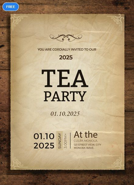 Free Tea Party Invitation Card Template Word Doc Psd Apple Mac Pages Illustrator Publisher Outlook Party Invite Template Tea Party Invitations Invitation Template