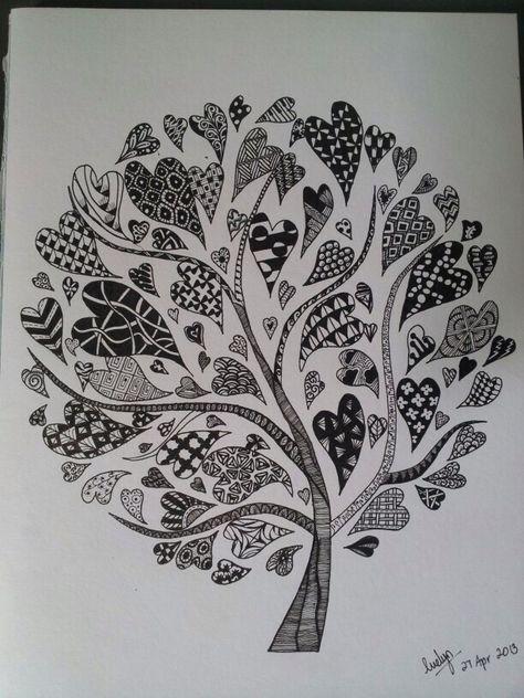 картинки гелевой ручкой деревья постоянных