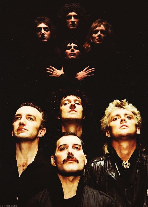 Queen -  British rock band formed in London in 1970, originally consisting of Freddie Mercury (lead vocals, piano), Brian May (guitar, vocals), John Deacon (bass guitar), and Roger Taylor (drums, vocals).