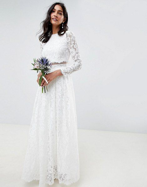 Asos Edition Lace Long Sleeve Crop Top Maxi Wedding Dress By Asos Edition Asosedition Crop Top Wedding Dress Asos Wedding Dress Lace Crop Top Wedding Dress