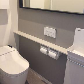 バス トイレ タンクレストイレ 手洗いカウンター Ikea パナソニック などのインテリア実例 2017 09 26 20 09 43 Roomclip ルームクリップ タンクレストイレ アラウーノ 手洗い ランドリールーム 収納