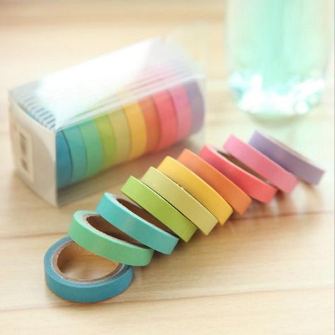 Deco Sticky Masking Tape Writing Dentelle Scrapbooking Masking Tape Lot 10 Candy Color Students Children Favorites Office Stationery 10 X Rainbow Roll Paper Masking Crafts Sticky Adhesive Sticker Decorative Washi Tape Rolls Writable Washi Tape Set, Masking Tape, Duct Tape, Cool School Supplies, Cute Stationary School Supplies, Sticky Paper, Decorative Tape, Office Stationery, Craft Wedding